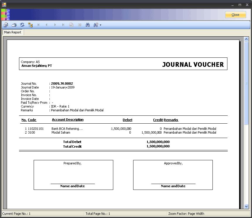 Report Journal Voucher